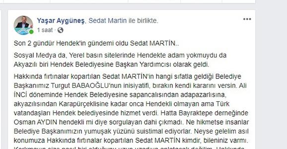 Aygüneş Martin'e Sahip Çıktı