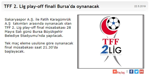 Final'in Adresi Bursa