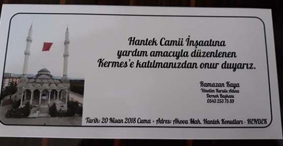HANTEK CAMİ İNŞAAT'I YARARINA KERMES