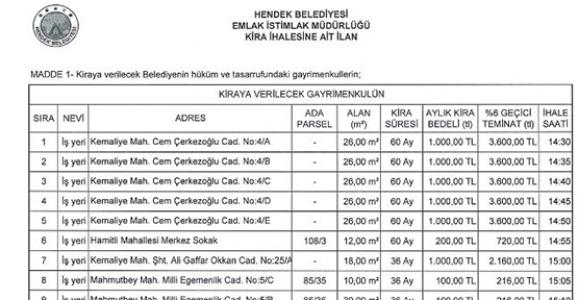 Hendek Belediyesi Açık Teklif Usulü İhale