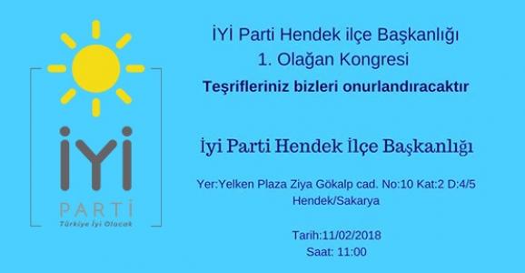 İYİ PARTİ HENDEK'TE KONGREYE GİDİYOR
