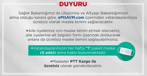 PTT'den Ücretsiz Maske