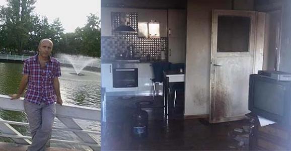 Yangını söndürmek isteyen ev sahibinin üzeri tutuştu