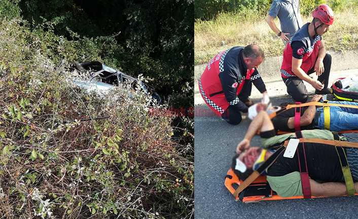 Araç Şarampole Yuvarlandı 2 Yaralı